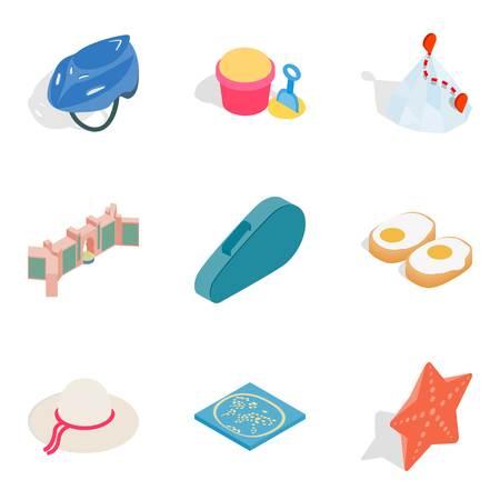 Active lifestyle icons set. Isometric set of 9 active lifestyle vector icons for web isolated on white background