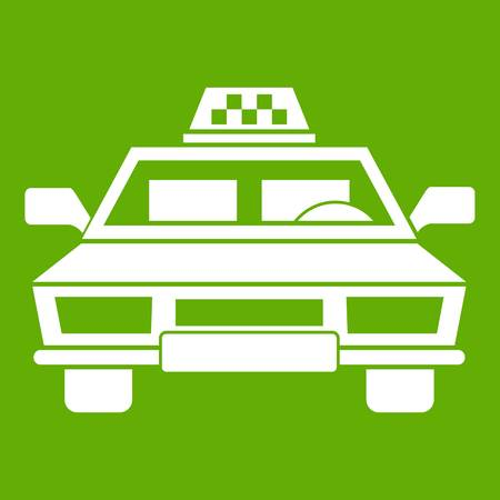 Taxi car icon white isolated on green background. Vector illustration Illustration