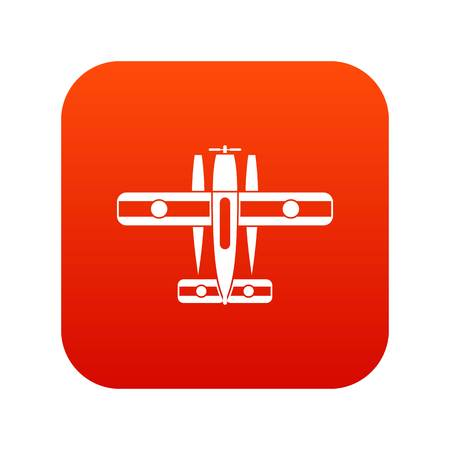 Ski equipped airplane icon digital red for any design isolated on white vector illustration Ilustração
