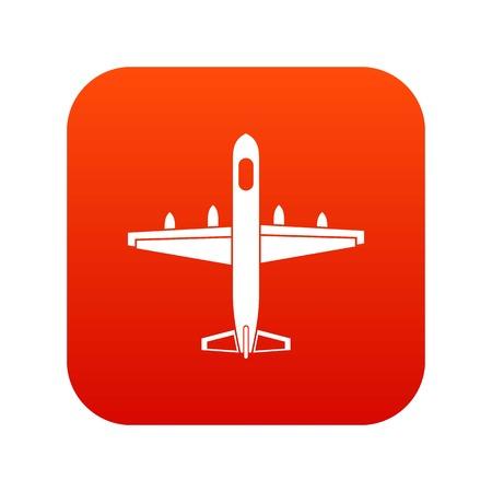 Military plane icon digital red Illustration