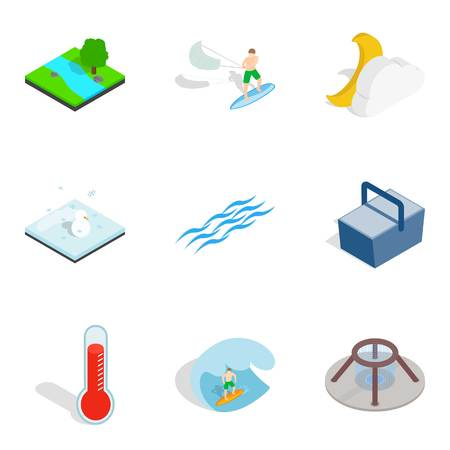 Aqua icons set. Isometric set of 9 aqua vector icons for web isolated on white background 向量圖像
