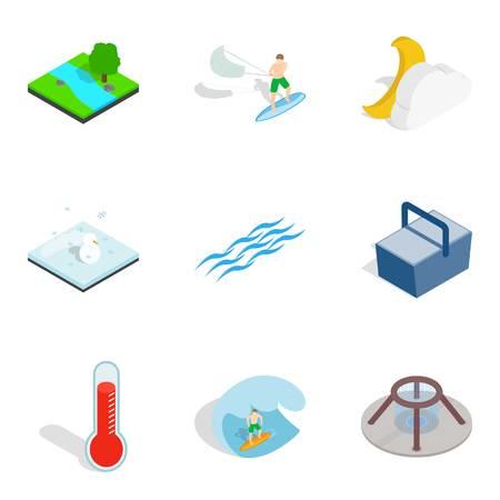 Aqua icons set. Isometric set of 9 aqua vector icons for web isolated on white background Illustration