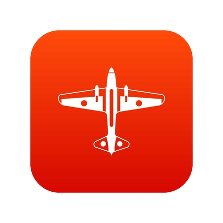 Military aircraft icon digital red for any design isolated on white vector illustration