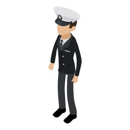 Sea captain icon. Isometric illustration of sea captain vector icon for web