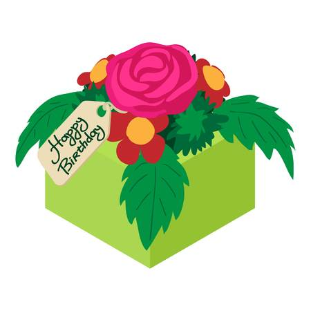 Bouquet flowers birthday icon. Isometric illustration of bouquet flowers birthday vector icon for web Illustration