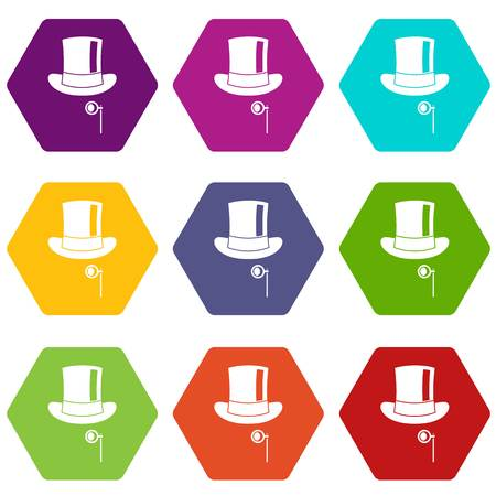 Hat with monocle icon set many color hexahedron isolated on white vector illustration