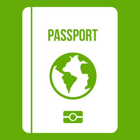 Passport icon white isolated on green background. Vector illustration.