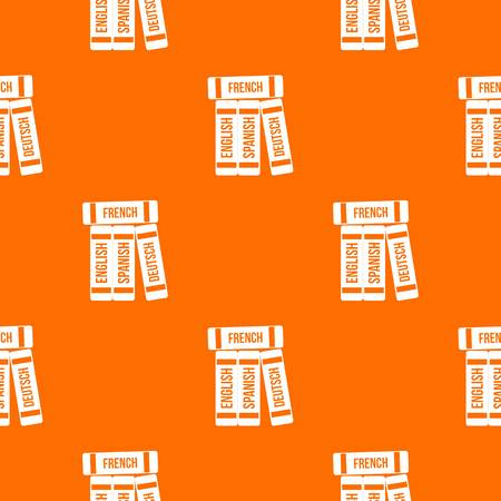 Dictionaries pattern repeat seamless in orange color for any design. Vector geometric illustration.