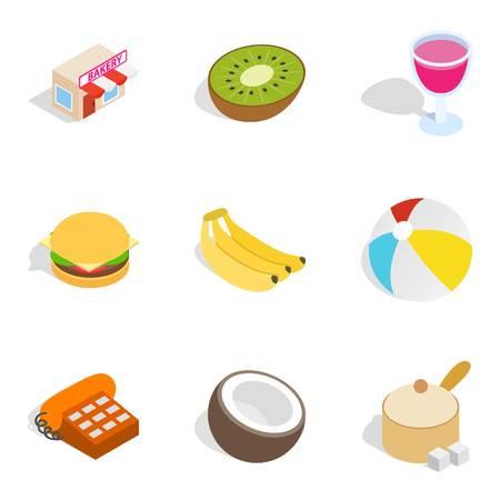 Bake shop icons set, isometric style