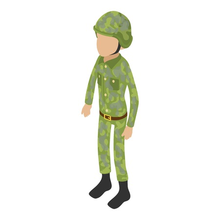 Soldier war icon. Isometric illustration of soldier war vector icon for web. Illustration