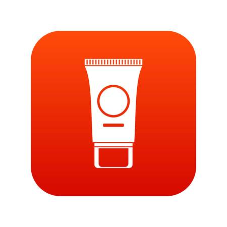 Cosmetic cream tube icon digital red for any design isolated on white vector illustration