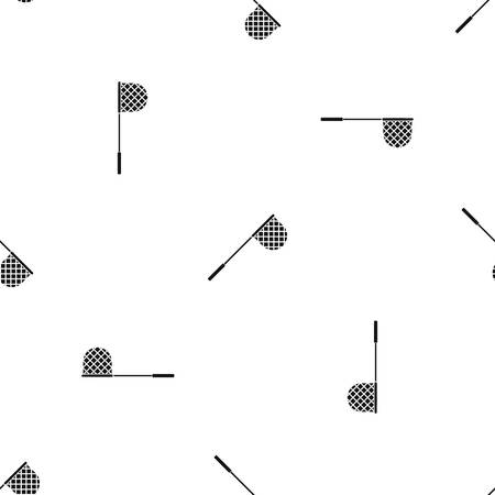 Fishing net pattern repeat seamless in black color for any design. Vector geometric illustration Ilustração