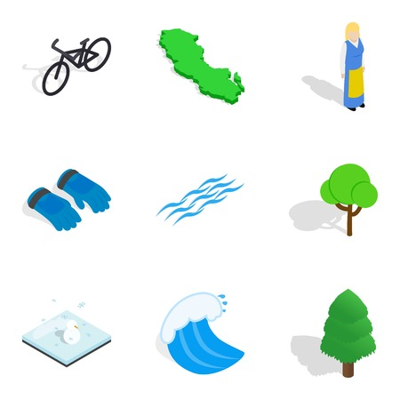 Nature time icons set, isometric style Illustration