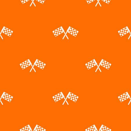 Crossed chequered flags repetitive, borderless pattern in orange color for any design. Illustration
