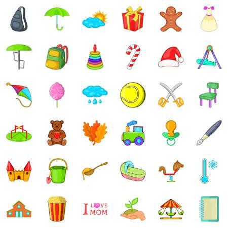 Mother holiday icons set, cartoon style Illusztráció