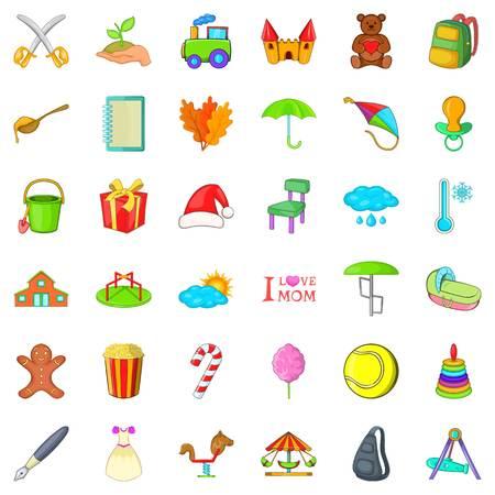 Autumn day icons set, cartoon style