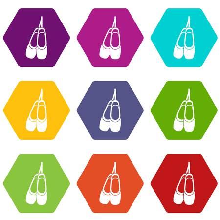 Pointe shoes icon set Illustration