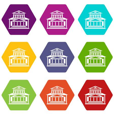 Theater building icon set many color hexahedron isolated on white vector illustration