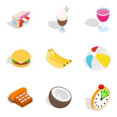 Sweet bakery icons set. Isometric set of 9 sweet bakery vector icons for web isolated on white background
