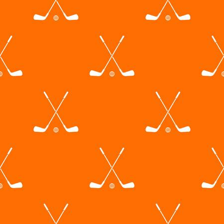 Two crossed golf clubs and ball pattern repeat seamless in orange color for any design. Vector geometric illustration