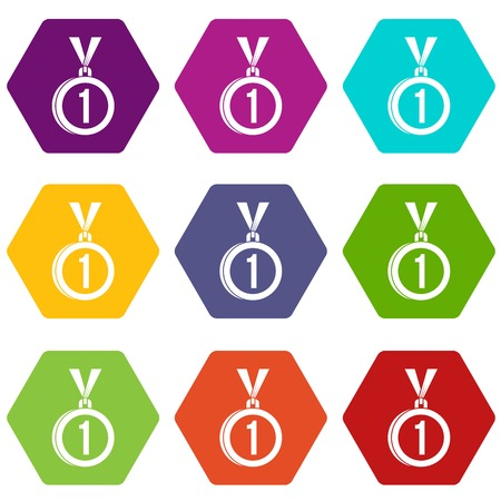 Medal for first place icon set color hexahedron
