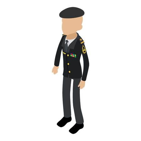 Soldier veteran icon, isometric 3d style