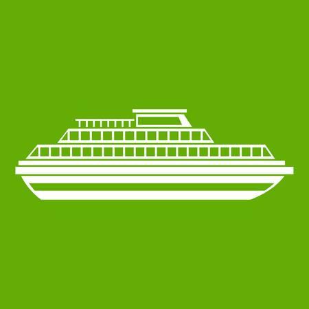 Cruise ship icon green Stock Photo