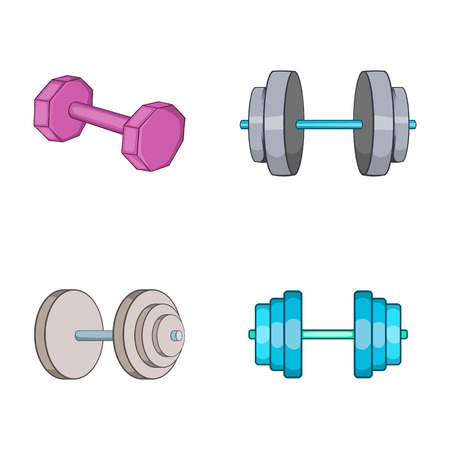 Dumb bells icon set  cartoon style.