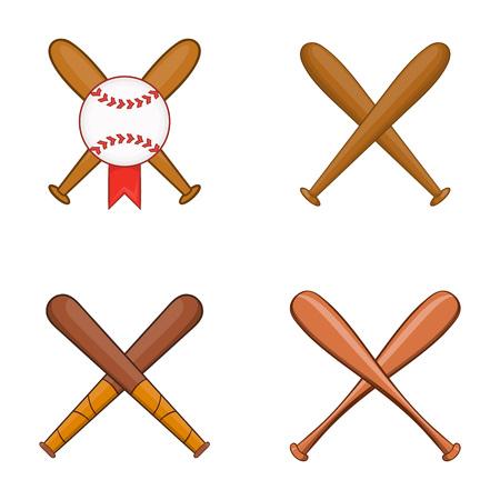 Baseball bit icon set. Cartoon set of baseball bit vector icons for web design isolated on white background