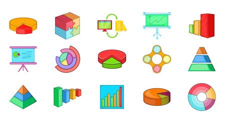 Diagram icon set cartoon style.