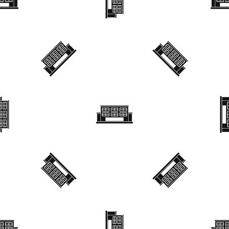 Industrial building pattern repeat seamless in black color for any design. Vector geometric illustration Illustration