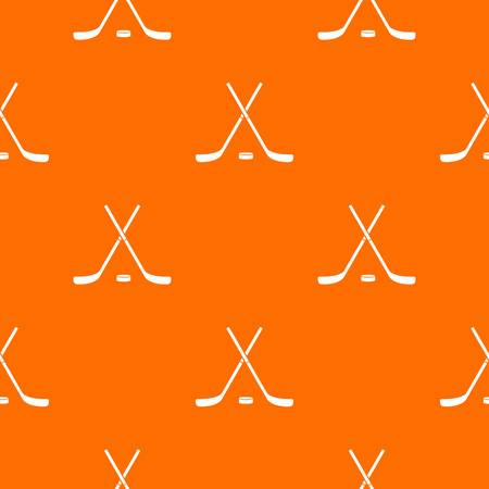 Crossed hockey sticks and puck pattern repeat seamless in orange color for any design. Vector geometric illustration