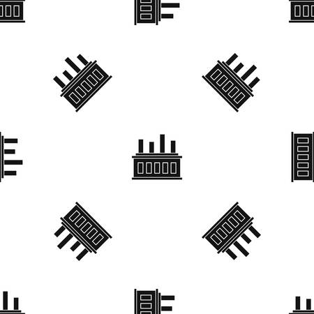 Industrial factory building pattern repeat seamless in black color for any design. Vector geometric illustration Illustration