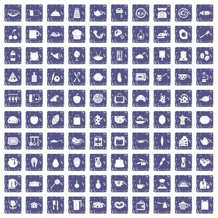 100 cooking icons set grunge sapphire. 일러스트