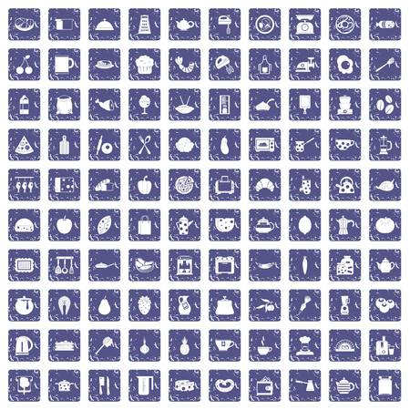 100 cooking icons set grunge sapphire. Illustration