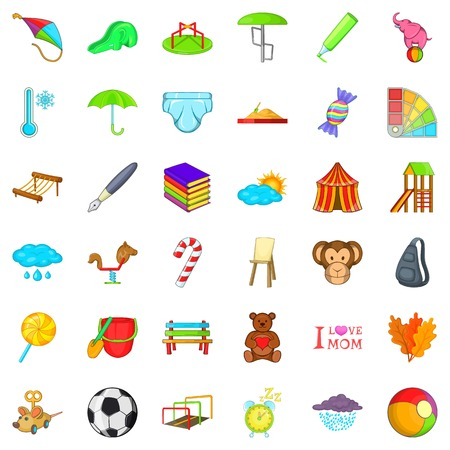 Kid activity icons set. Cartoon style of 36 kid activity vector icons for web isolated on white background