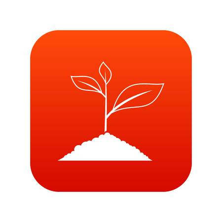 Growing plant icon digital red for any design isolated on white vector illustration