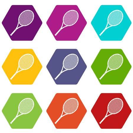 Tennis racket icon set color hexahedron Illustration