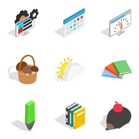 Time icons set, isometric style