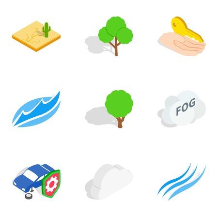 Calamity icons set, isometric style