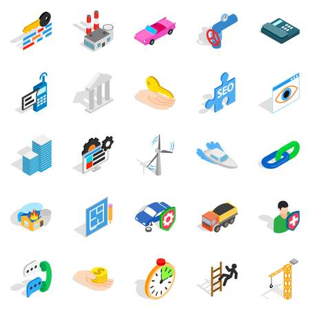 Private icons set in isometric style.