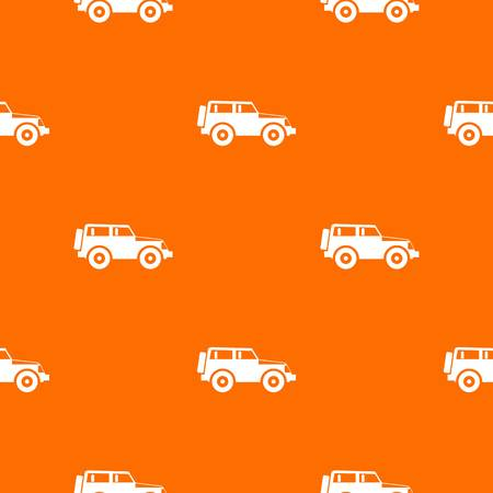 car pattern repeat seamless in orange color for any design. Vector geometric illustration  イラスト・ベクター素材