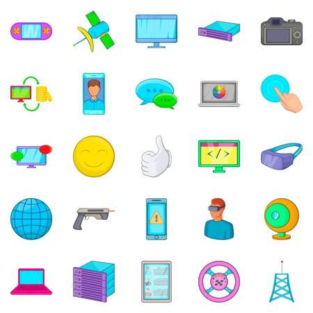 Game console icons set in cartoon style. Illustration