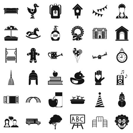 Kids icons set in simple style.
