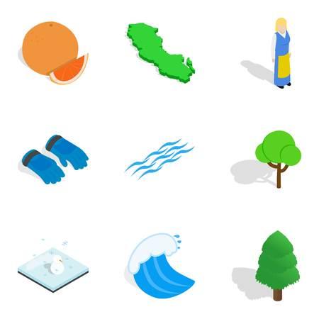 Outdoor leisure icons set isometric style illustration.