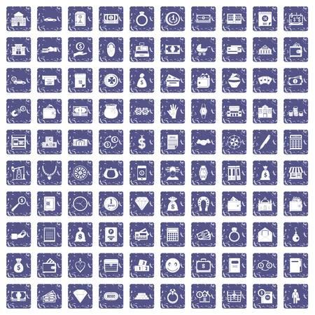 100 deposit icons set grunge sapphire illustration.