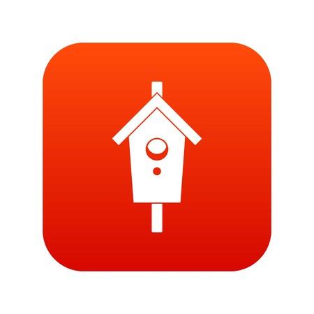 Birdhouse icon digital red illustration. Illustration