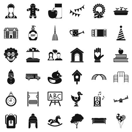 Childcare icons set simple style illustration.