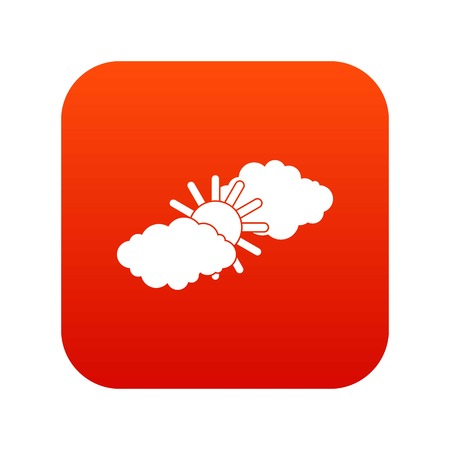 Sun and clouds icon digital red for any design isolated on white vector illustration