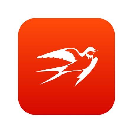 Barn swallow icon digital red